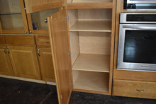 Large Chestnut Oak Kitchen Cabinet Set w/ Glass Doors and Lazy Susan