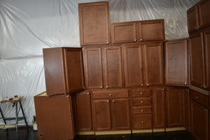 Dark Maple Kitchen Cabinet Set w/ Two Lazy Susans