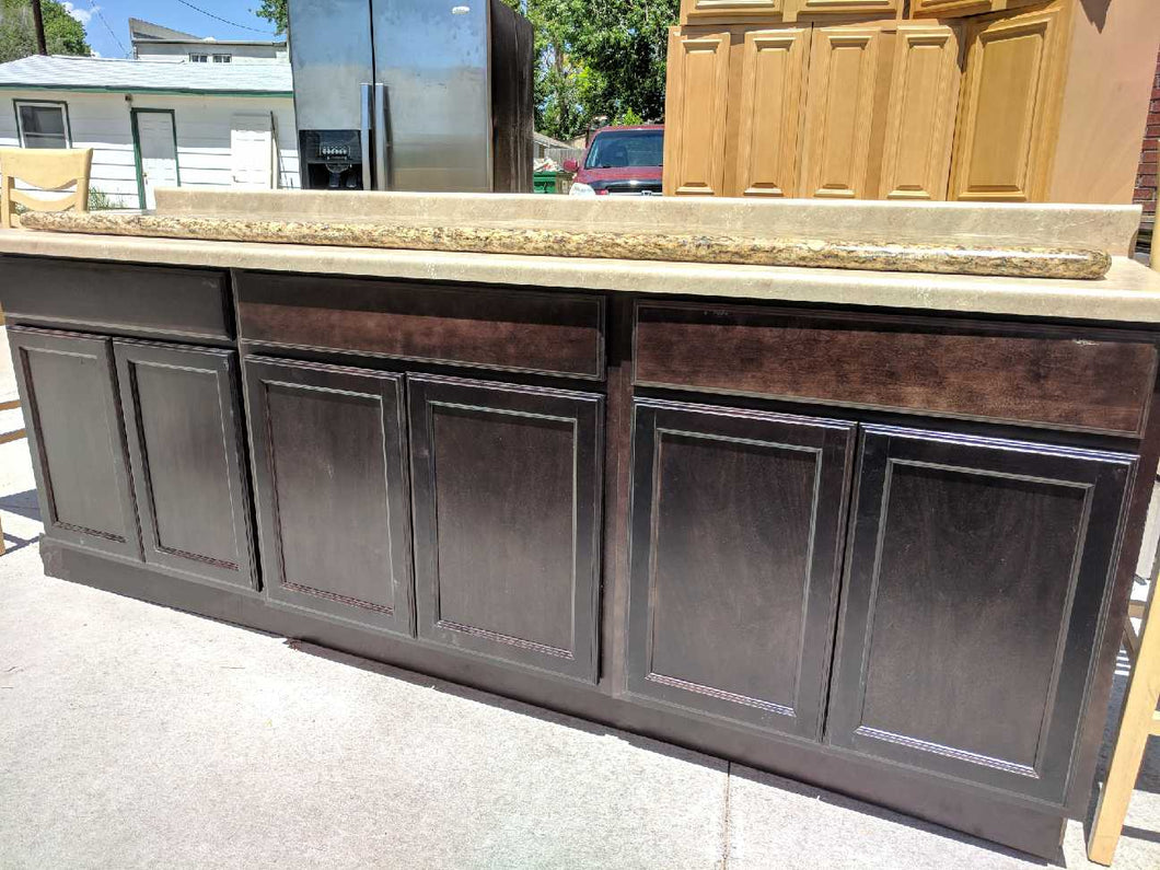 Dovetailed Dark Chocolate Bar Cabinets w/ Countertop