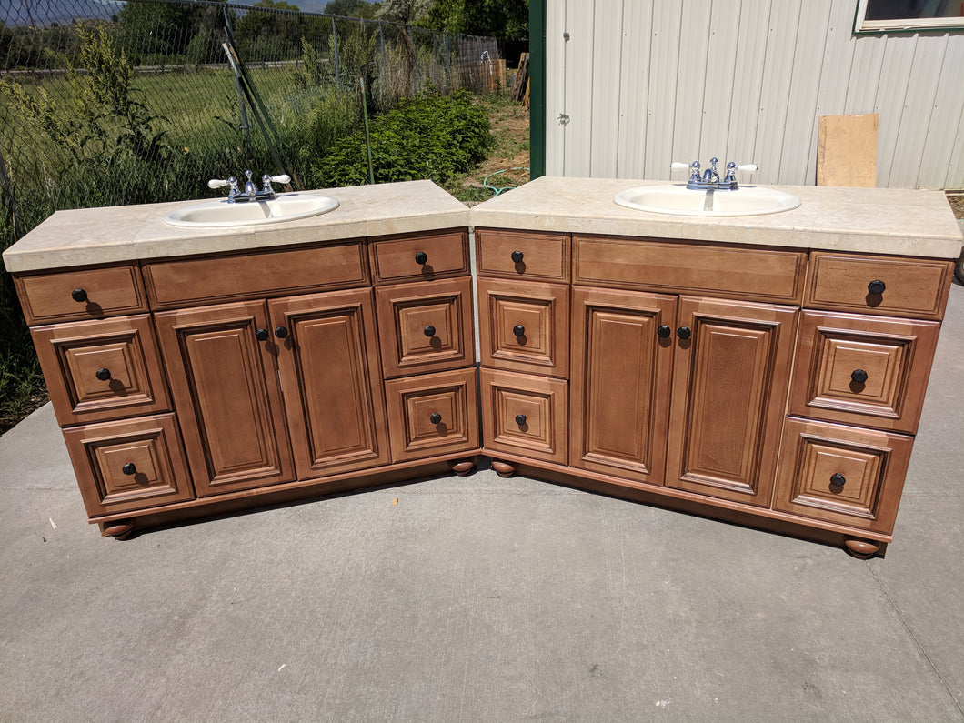 Nearly-New Matching His/Her's Frameless Vanities w/ Dovetailing!