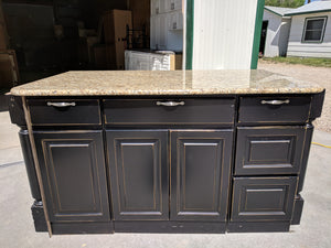 Beautiful Black Accent Island w/ Slab Granite + Hardware! - $595