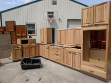 Light Hickory Kitchen Cabinet Set w/ Dark Hardware and Dovetailed Drawers