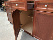 Small Dark Maple Kitchen Cabinet Set w/ Silver Hardware and Plywood Boxes