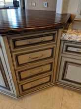 Gigantic Like-New Frameless Glazed Distressed Antiqued Kitchen Cabinet Set w/ Glass Doors and Under Cabinet Lighting