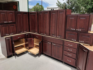 Birch Kitchen Cabinets w/ Cherry Stain, Dovetailed Drawers, and Pullouts