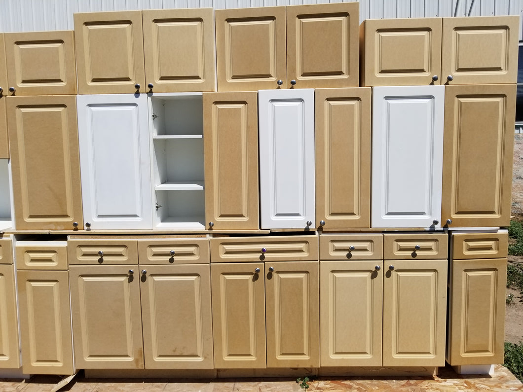 High-Density Fiber Board Cabinets w/ Frameless Doors + Drawers, Ready for Paint