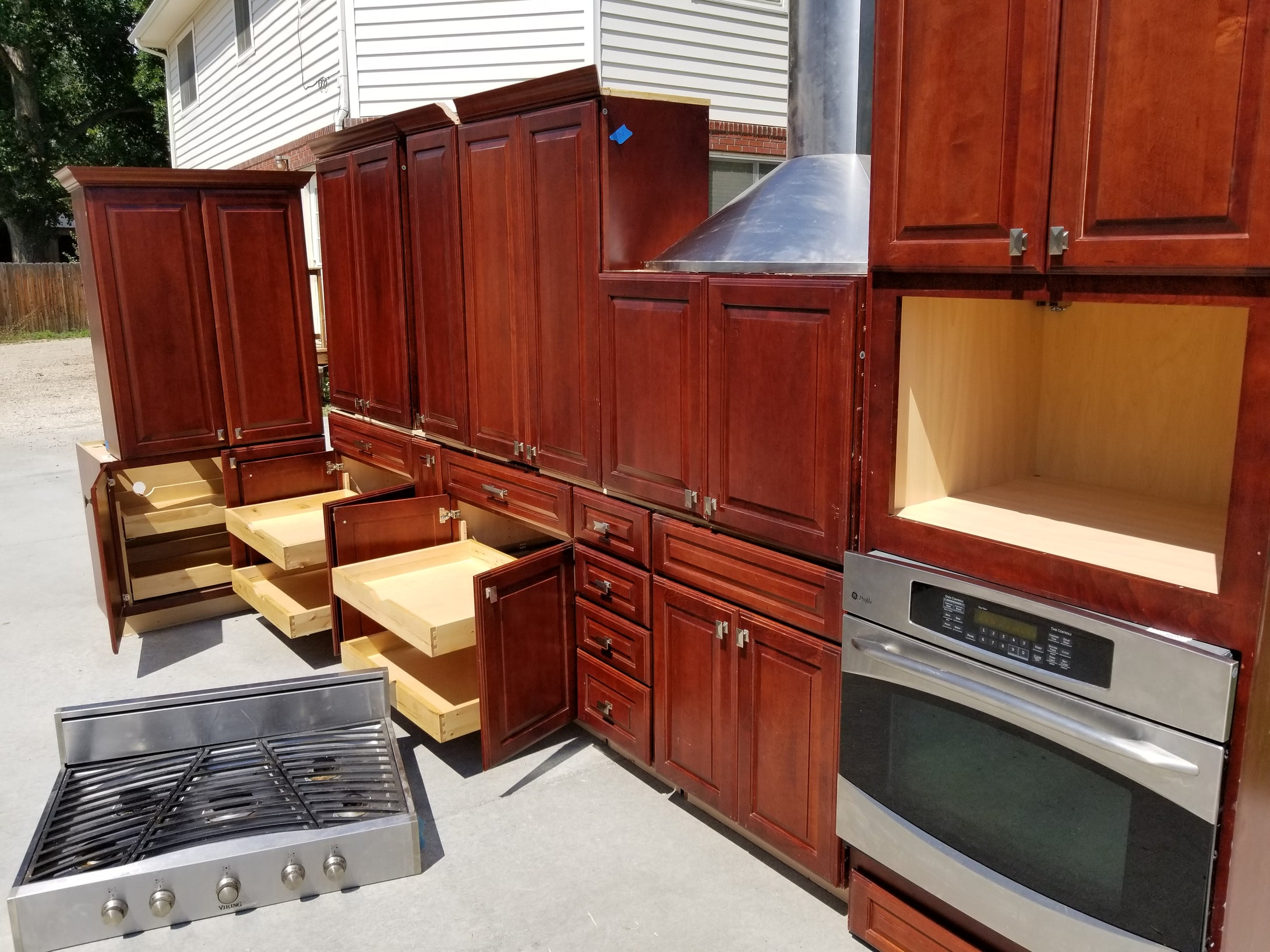 Dark Cherry Kitchen Cabinet Set w/  Silver Hardware and Pullouts