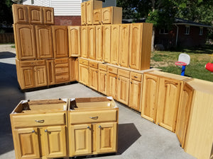 Large Hickory Kitchen Cabinet Set w/ Dovetailed Drawers and Silver Hardware- R. Furr Final Payment