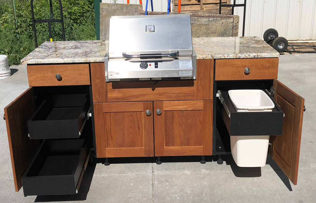 Outdoor Kitchen Set w/ Electric Grill + HD Polymer Cabinet Boxes