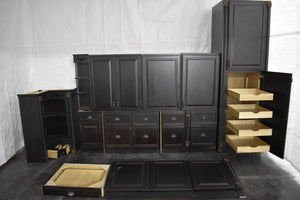 Antiqued Victorian Kitchen Cabinet Set w/ Dovetailed Drawers and Rollout Trays