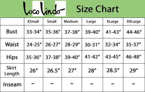 Doris Mayday Dress - Size Chart