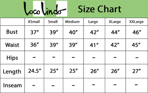 Camp Shirt Size Chart - Printed