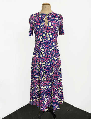1930s Style Purple Poseys Keyhole Pullover Norma Dress