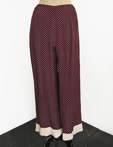 Burgundy & Cream Polka Dot 1930s Style Louise Lounge Pant