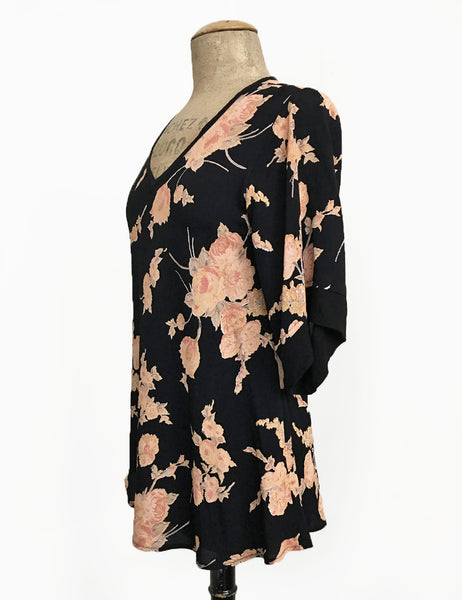 Antique Corsage Print 1930s Inspired V-Neck Kimono Top