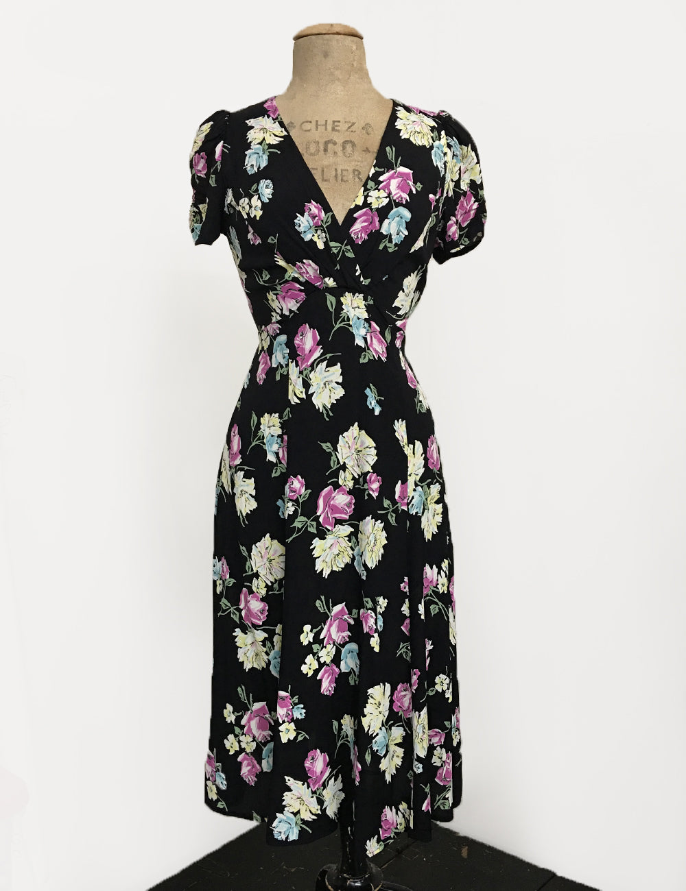 Black 1940s Candy Floral Knee Length Rita Dress
