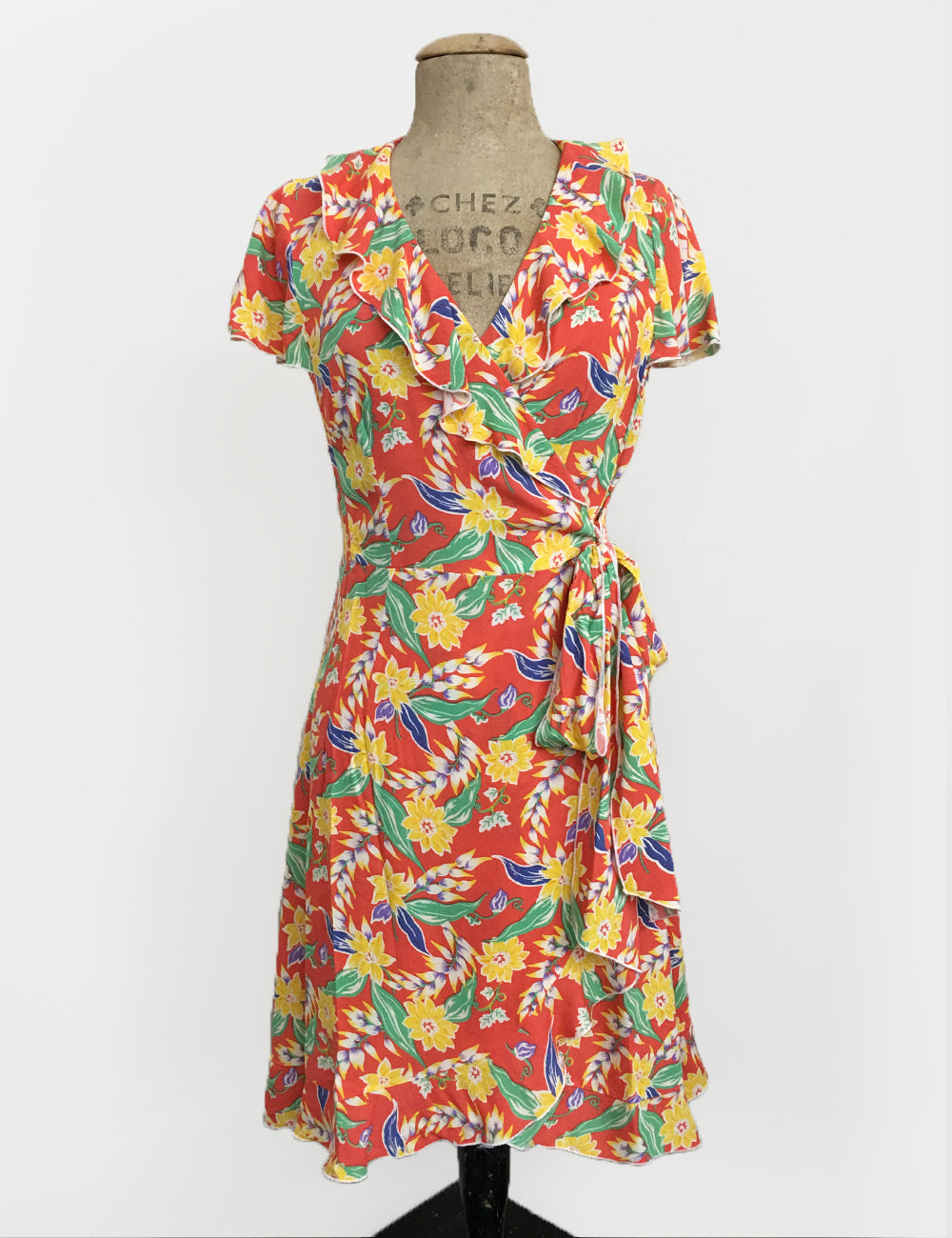 1940s Colorful Tropical Floral Soft Rayon Ruffle Wrap Dress