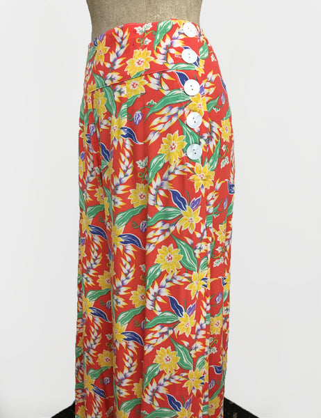 1940s Bright Tropical Floral Soft Rayon High Waisted Palazzo Pants