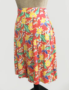 1940s Tropical Floral Soft High Waisted Vintage Inspired Shorts