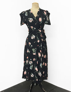 1940s Style Black Carnation Floral Tea Length Cascade Wrap Dress
