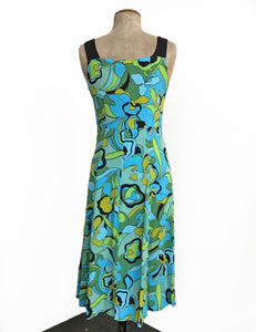 1970s Funky Floral Vintage Style Sleeveless Mi Amor Dress