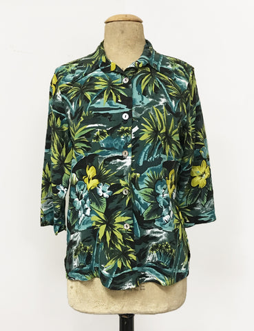 Green & Blue Aloha Floral Doris Button Up Shaped Shirt - FINAL SALE