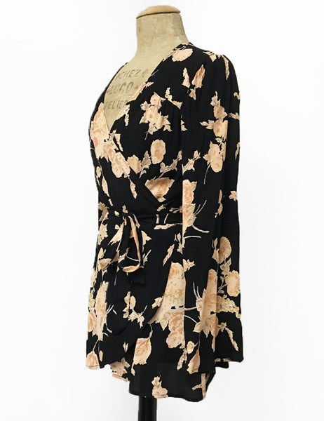 Black & Peach Antique Corsage Print Biba Wrap Top