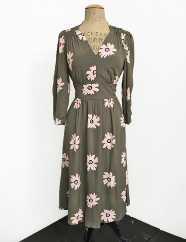 Army Green Floral 3/4 Sleeve Retro 40s Dress - FINAL SALE