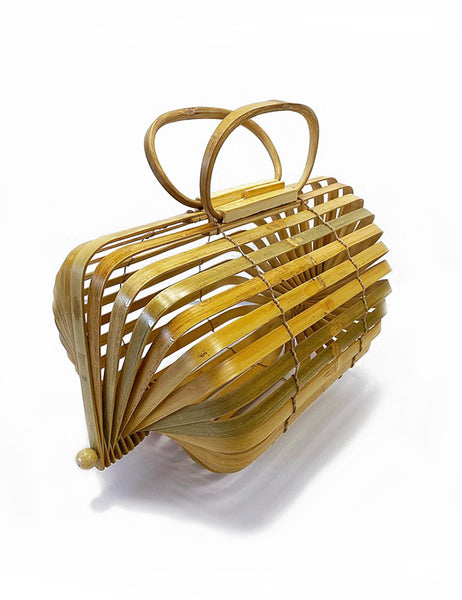 Vintage Style Light Bamboo Collapsible Tiki Purse