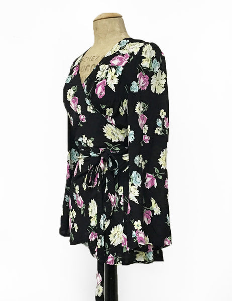 1940s Colorful Candy Floral Print Biba Wrap Top