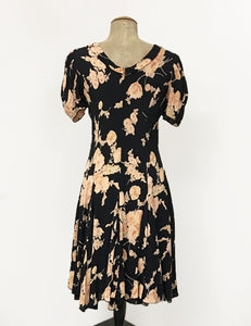 1930s Day Dresses, Afternoon Dresses History Black Antique Corsage 1930s Venice Beach Balboa Swing Dress $148.00 AT vintagedancer.com