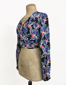 Black Birds of Paradise Print Balloon Sleeve Babaloo Crop Wrap Top