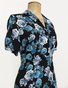 Black & Blue Tea Rose Short Sleeve Tea Length Vintage Day Dress
