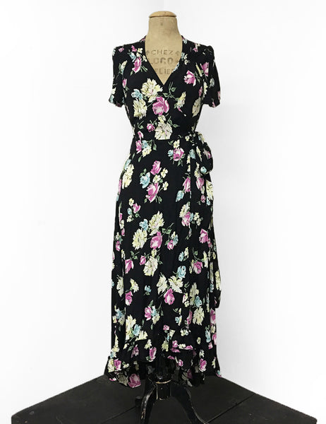 1970s Inspired Black Candy Floral Bohemian Hi Low Ruffle Maxi Dress