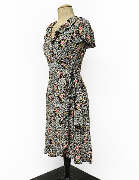 Sweet Black & Colorful Ragtime Floral Ruffle Wrap Summer Dress