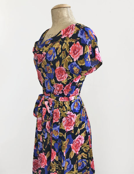 Vintage Style Black Watercolor Floral Megan Cowl Neck Dress