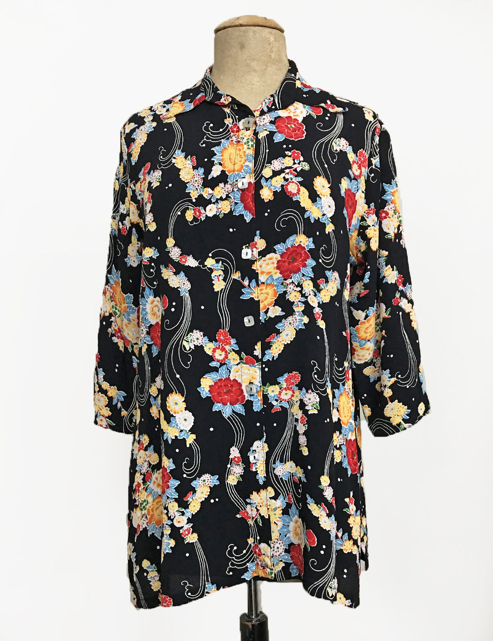 Black Floral Breeze Flyaway Button Up Tunic Top