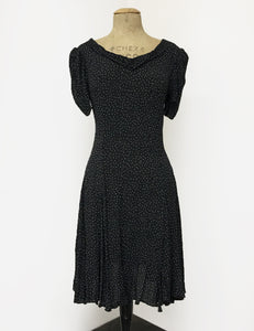 Black & White Galaxy Dot 1930s Venice Beach Balboa Swing Dress