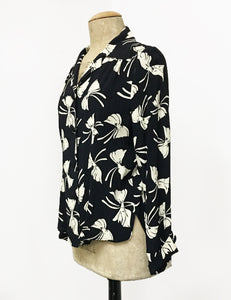 Black & Ivory Bow Print 1940s Style Button Up Hepburn Blouse
