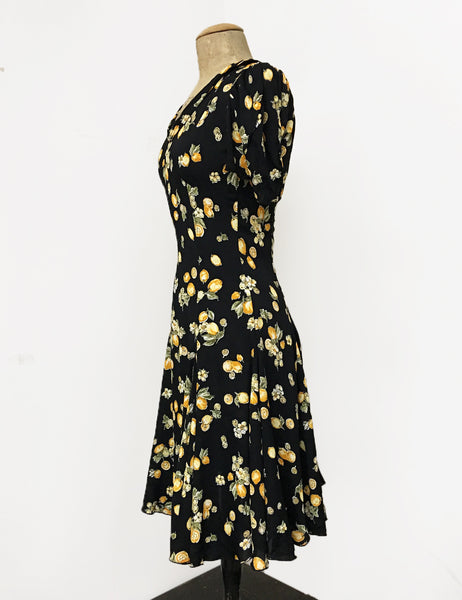 Black Vintage Lemon Print 1930s Venice Beach Balboa Swing Dress
