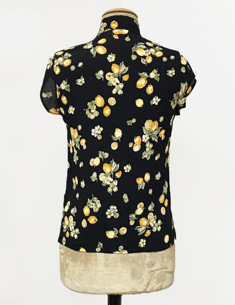 BACK IN STOCK!  Black Lemon Print Mandarin Collar Button Up Tea Timer Top