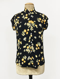PREORDER - Black Lemon Print Mandarin Collar Button Up Tea Timer Top