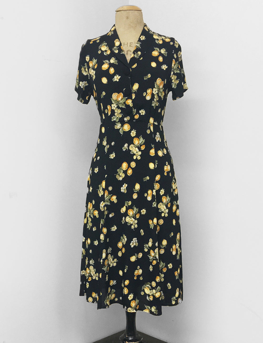 Black Lemon Print Short Sleeve Vintage Day Dress