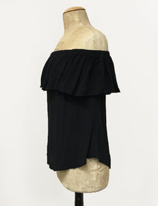 Solid Black Ruffle Top Dolores Peasant Blouse