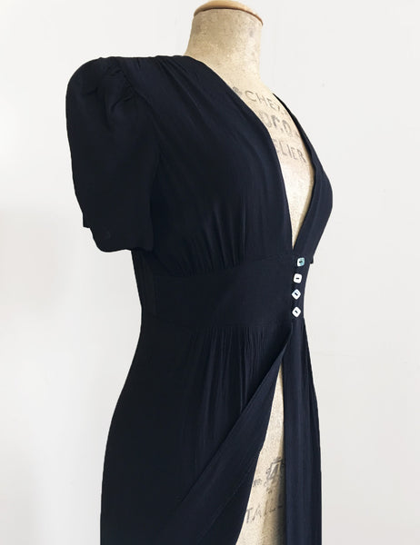 1930s Style Solid Black Harlow Peignoir Robe