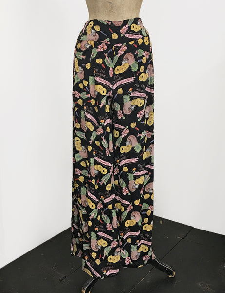 Black Pineapple Tiki Princess 1940s Style High Waisted Palazzo Pants