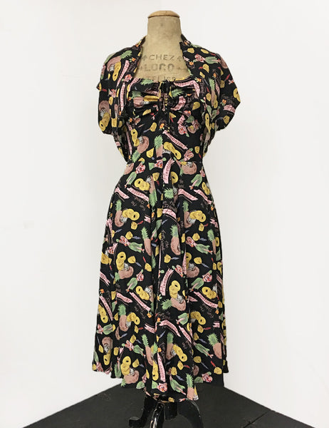 Black & Colorful Pineapple Princess 1940s Inspired Marta Halter Swing Dress