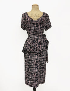 Doris Mayday for Loco Lindo - Metro Print Lena Peplum Wiggle Dress