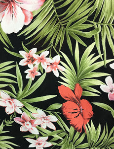 Black & Pink Tropical Floral Print 1940s Marta Halter Swing Dress