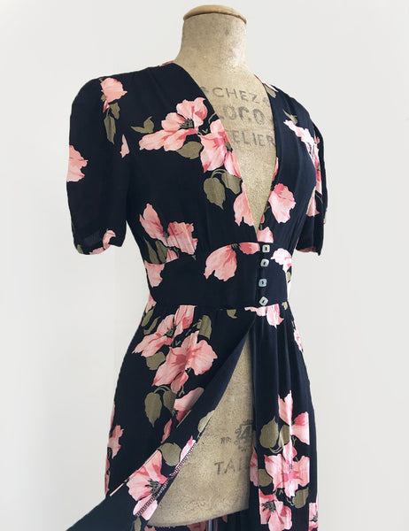 1930s Style Pink & Black Tropical Nights Harlow Peignoir Robe